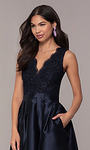 Image of lace-bodice long navy blue taffeta formal dress. Style: SOI-PL-D18607 Detail Image 1