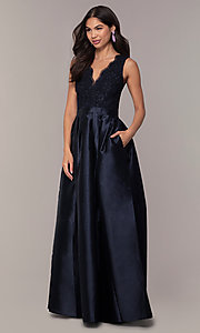 Image of lace-bodice long navy blue taffeta formal dress. Style: SOI-PL-D18607 Front Image