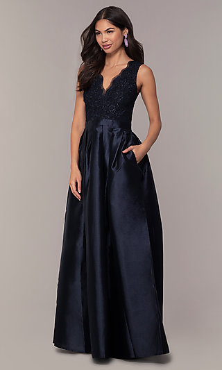 Lace-Bodice Long Navy Blue Taffeta Formal Dress