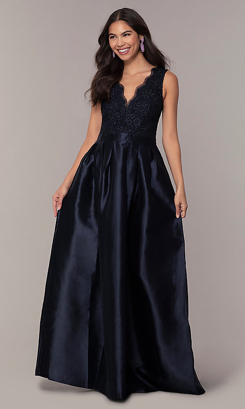 Image of lace-bodice long navy blue taffeta formal dress. Style: SOI-PL-D18607 Detail Image 3