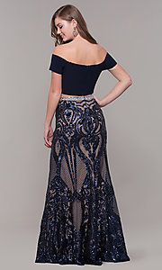 Image of two-piece off-shoulder long navy blue prom dress. Style: JT-663 Back Image