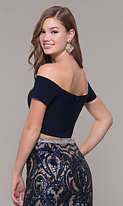 Image of two-piece off-shoulder long navy blue prom dress. Style: JT-663 Detail Image 2