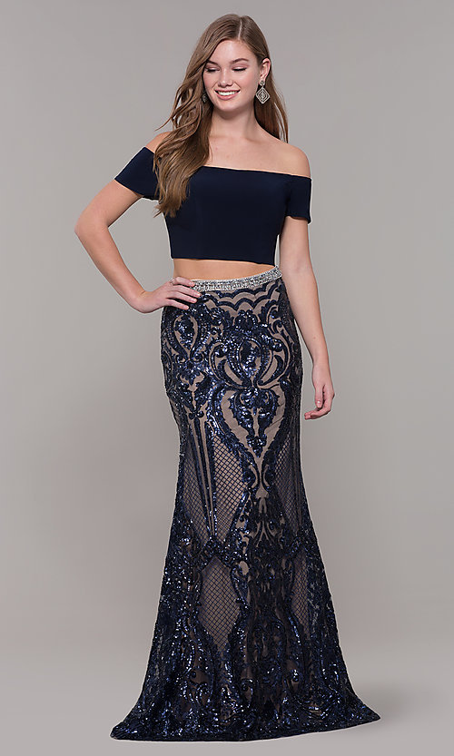 Image of two-piece off-shoulder long navy blue prom dress. Style: JT-663 Front Image