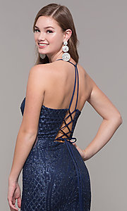 Image of beaded glitter long v-neck prom dress with corset. Style: JT-681 Detail Image 2