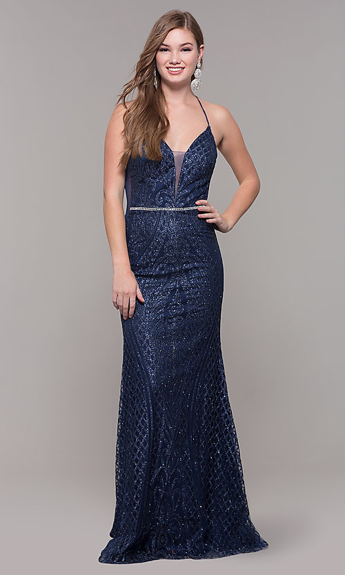 Image of beaded glitter long v-neck prom dress with corset. Style: JT-681 Front Image