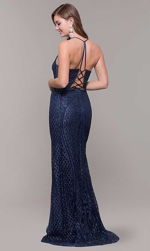Image of beaded glitter long v-neck prom dress with corset. Style: JT-681 Back Image