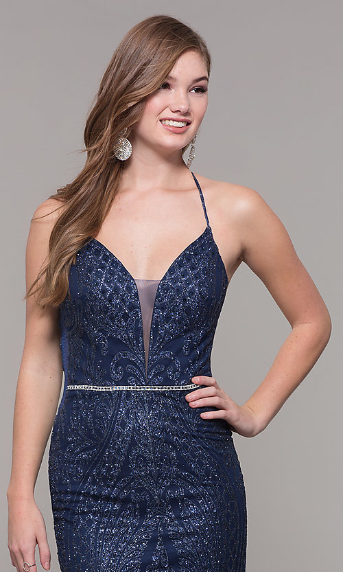 Image of beaded glitter long v-neck prom dress with corset. Style: JT-681 Detail Image 1
