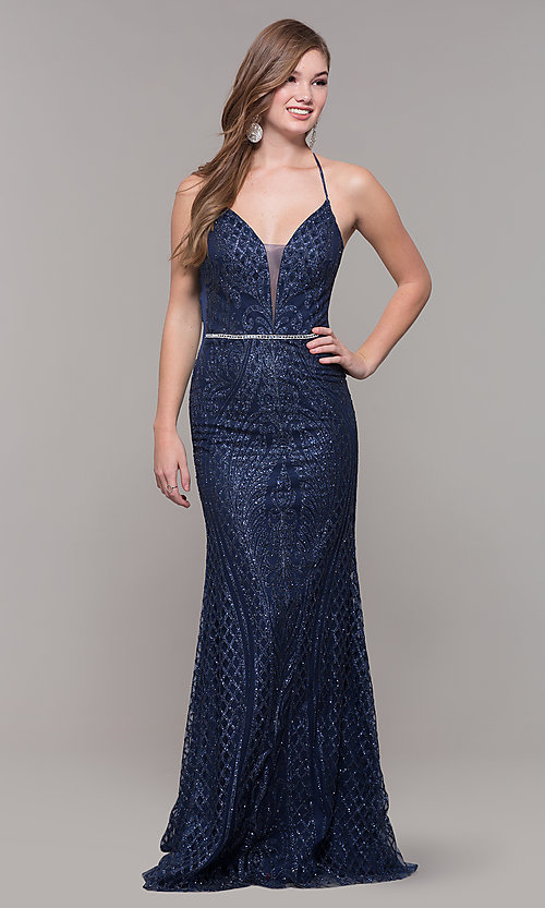 Image of beaded glitter long v-neck prom dress with corset. Style: JT-681 Detail Image 3