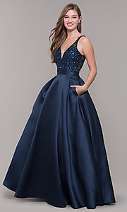 Image of v-neck long formal prom dress with beaded bodice. Style: JT-682 Front Image