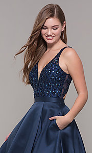 Image of v-neck long formal prom dress with beaded bodice. Style: JT-682 Detail Image 1