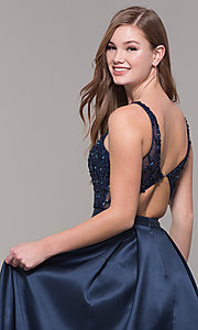 Image of v-neck long formal prom dress with beaded bodice. Style: JT-682 Detail Image 2