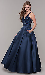 Image of v-neck long formal prom dress with beaded bodice. Style: JT-682 Detail Image 3