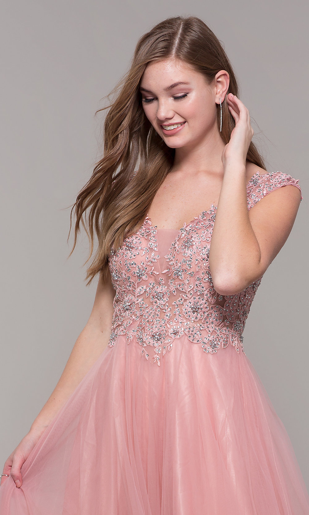 5b26949cff062 ... long tulle prom dress with beaded bodice. Style: JT. Tap to expand