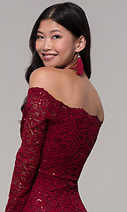 Image of sequin-lace off-shoulder long MOB dress in burgundy. Style: CL-46248 Detail Image 2