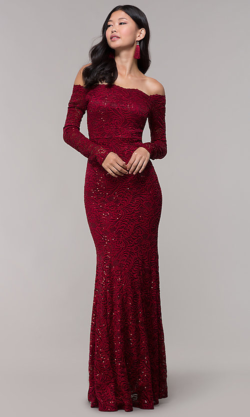 Image of sequin-lace off-shoulder long MOB dress in burgundy. Style: CL-46248 Front Image