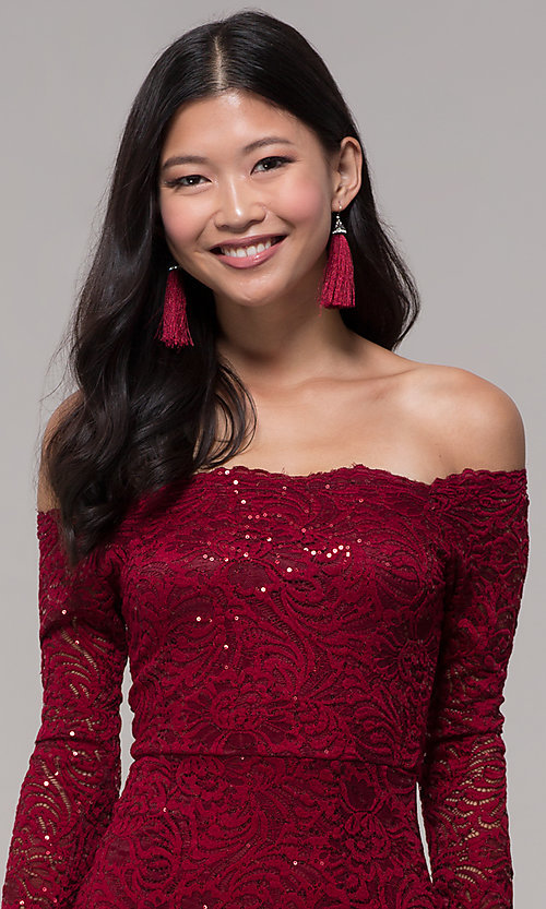 Image of sequin-lace off-shoulder long MOB dress in burgundy. Style: CL-46248 Detail Image 1