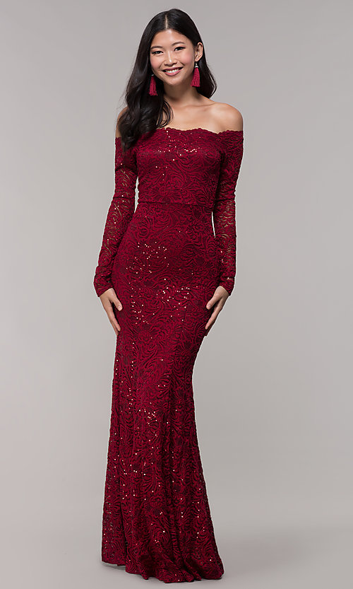 Image of sequin-lace off-shoulder long MOB dress in burgundy. Style: CL-46248 Detail Image 3