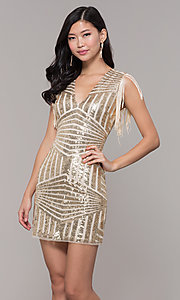 Image of short sequin holiday party dress with fringe sleeves. Style: VE-628-214982 Detail Image 4