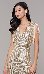 Image of short sequin holiday party dress with fringe sleeves. Style: VE-628-214982 Detail Image 6