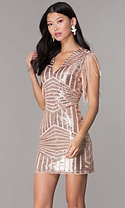 Image of short sequin holiday party dress with fringe sleeves. Style: VE-628-214982 Front Image