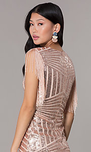 Image of short sequin holiday party dress with fringe sleeves. Style: VE-628-214982 Detail Image 2