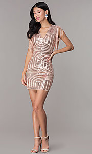 Image of short sequin holiday party dress with fringe sleeves. Style: VE-628-214982 Detail Image 3