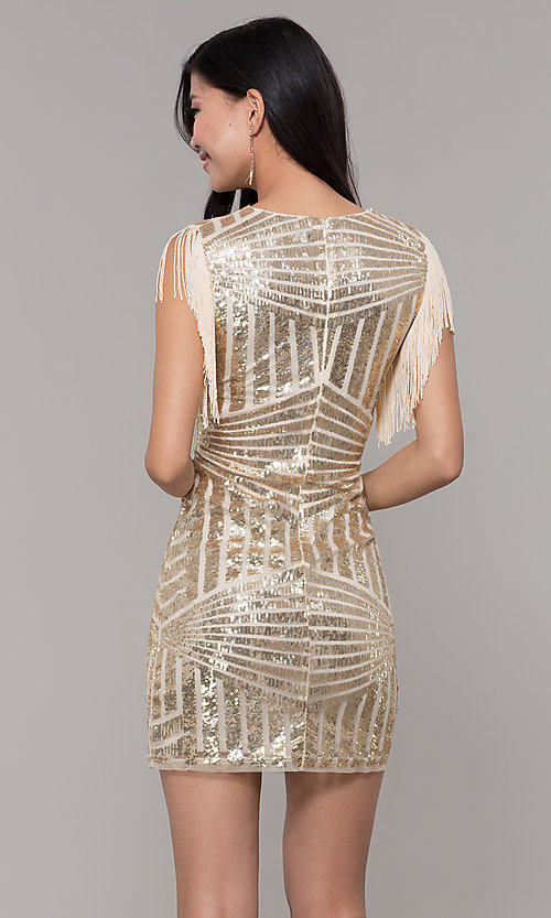 Image of short sequin holiday party dress with fringe sleeves. Style: VE-628-214982 Detail Image 5