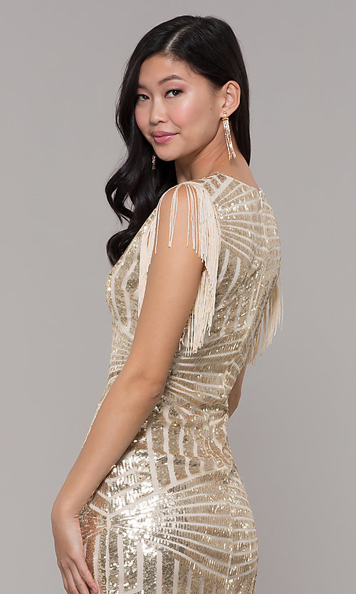 Image of short sequin holiday party dress with fringe sleeves. Style: VE-628-214982 Detail Image 7