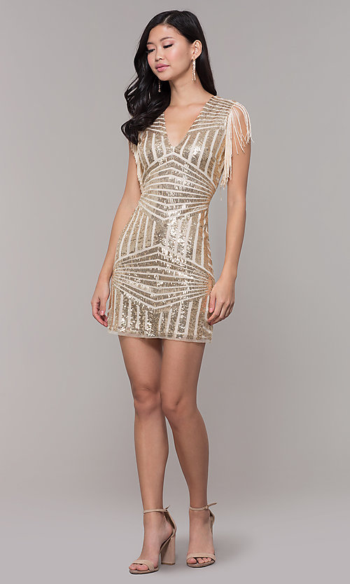 Image of short sequin holiday party dress with fringe sleeves. Style: VE-628-214982 Detail Image 8