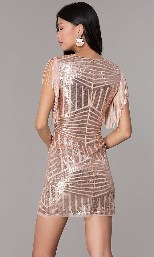 Image of short sequin holiday party dress with fringe sleeves. Style: VE-628-214982 Back Image