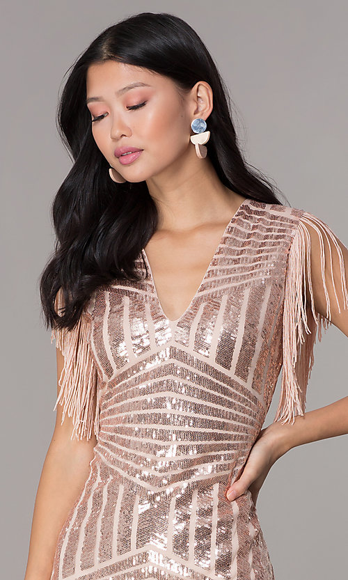 Image of short sequin holiday party dress with fringe sleeves. Style: VE-628-214982 Detail Image 1