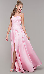 Image of mock-wrap open-back long prom dress in taffeta. Style: SSD-AB6104 Detail Image 4
