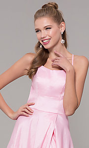 Image of mock-wrap open-back long prom dress in taffeta. Style: SSD-AB6104 Detail Image 6