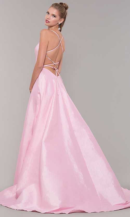 Image of mock-wrap open-back long prom dress in taffeta. Style: SSD-AB6104 Detail Image 5