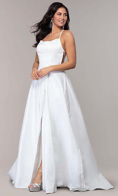 Image of mock-wrap open-back long prom dress in taffeta. Style: SSD-AB6104 Back Image