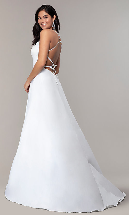Image of mock-wrap open-back long prom dress in taffeta. Style: SSD-AB6104 Front Image