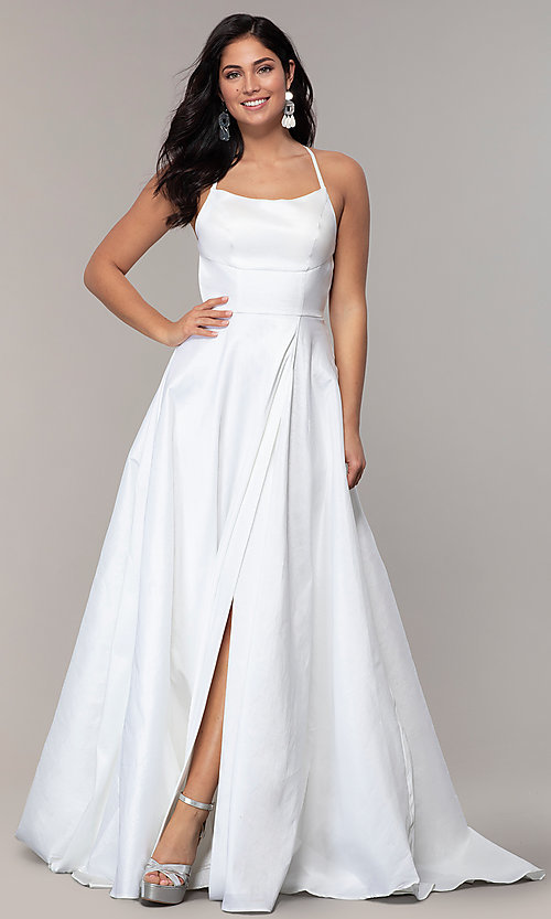 Image of mock-wrap open-back long prom dress in taffeta. Style: SSD-AB6104 Detail Image 3