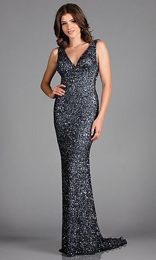 Long Scala Sequin Formal Dress with a Train