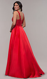 Image of long red satin lace-bodice prom dress by Faviana. Style: FA-10251 Back Image