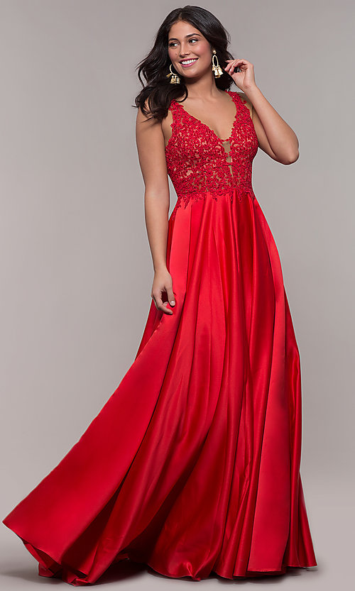 Image of long red satin lace-bodice prom dress by Faviana. Style: FA-10251 Front Image