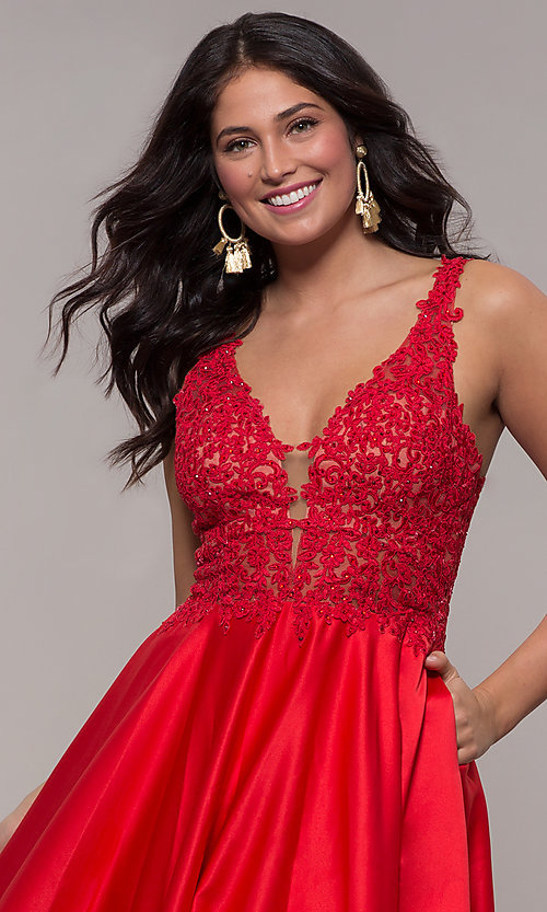Image of long red satin lace-bodice prom dress by Faviana. Style: FA-10251 Detail Image 1