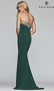 Image of Faviana strapless prom dress with high side slit. Style: FA-S10200 Detail Image 2