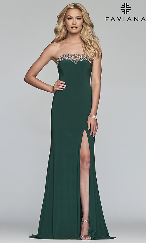 Image of Faviana strapless prom dress with high side slit. Style: FA-S10200 Detail Image 1