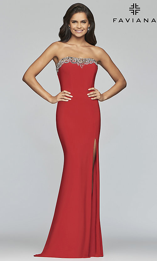 Image of Faviana strapless prom dress with high side slit. Style: FA-S10200 Detail Image 3