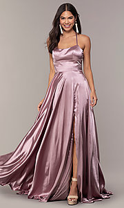 Image of Faviana long open-back satin formal dress with pockets. Style: FA-S10211 Detail Image 1