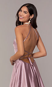 Image of Faviana long open-back satin formal dress with pockets. Style: FA-S10211 Detail Image 4