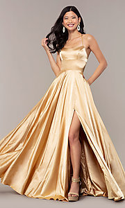 Image of Faviana long open-back satin formal dress with pockets. Style: FA-S10211 Detail Image 5
