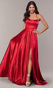 Image of Faviana long open-back satin formal dress with pockets. Style: FA-S10211 Back Image