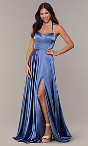 Image of Faviana long open-back satin formal dress with pockets. Style: FA-S10211 Detail Image 6