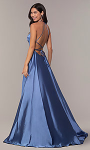 Image of Faviana long open-back satin formal dress with pockets. Style: FA-S10211 Detail Image 7
